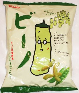 The front of a bag of Japanese Pea Corn Puffs